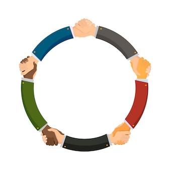 Mensen uit verschillende landen schudden elkaar de hand, conceptuele illustratie