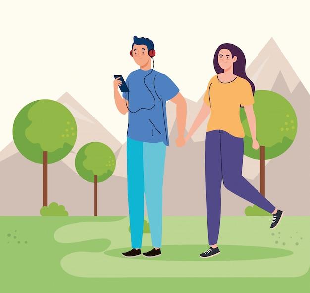 Mensen uitvoeren van recreatieve buitenactiviteiten, paar in het park