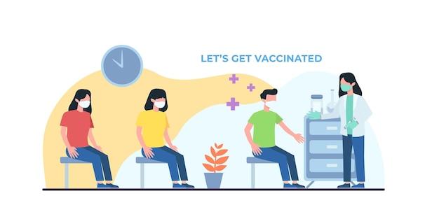 Mensen vaccinatie concept voor immuniteit gezondheid. covid19. dokter maakt een injectie van griepvaccin aan de mens in het ziekenhuis. vaccin uitleg. gezondheidszorg, coronavirus, preventie en immuniseren