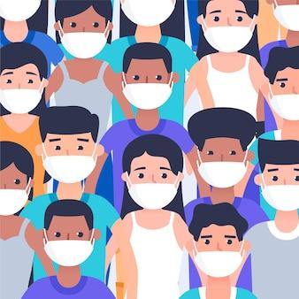 Mensen van alle nationaliteiten dragen maskers