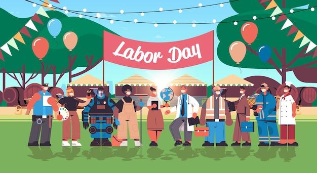 Mensen van verschillende beroepen die dag van de arbeid vieren mix race werknemers met maskers