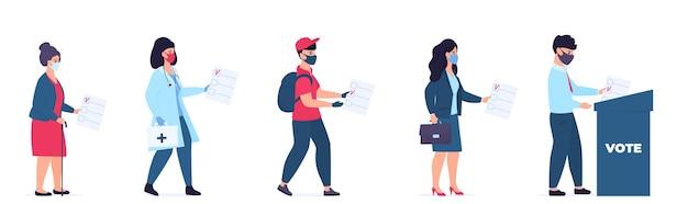 Mensen van verschillende beroepen en sociale categorieën in beschermende maskers stemmen via de stembus