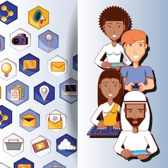 Mensen van verschillende etnische groepen met social media iconen