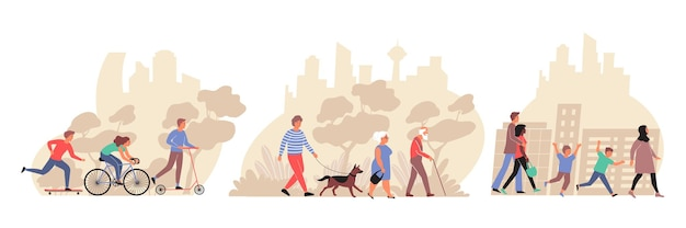 Mensen van verschillende leeftijden wandelen in stadspark en straten vlakke composities