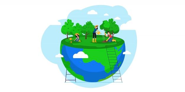 Mensen van world water plant voor de voorbereiding van de viering van de ecologie.