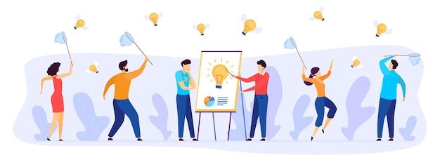 Mensen vangen bedrijfsidee vectorillustratie. platte zakenman team stripfiguren met vlindernetten vangen snel vliegende gevleugelde gloeilampen, teamwerk