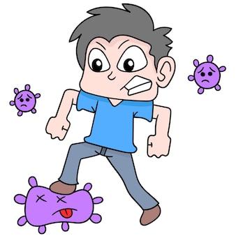 Mensen vechten en verslaan het kwaadaardige virusvirus, vectorillustratiekunst. doodle pictogram afbeelding kawaii.