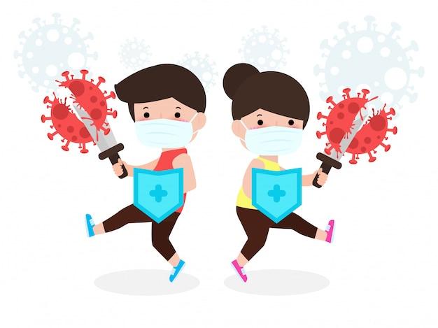 Mensen vechten met coronavirus (2019-ncov), cartoon karakter man en vrouw aanval, kinderen en bescherming tegen virussen en bacteriën, gezonde levensstijl concept geïsoleerd op witte achtergrond