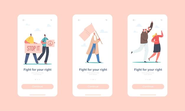 Mensen vechten voor de rechten mobiele app-pagina onboard-schermsjabloon. tekens die protesteren met borden en uithangbord op revolution strike of demonstration, riot concept. cartoon vectorillustratie