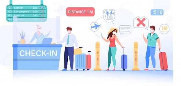 Mensen veilige sociale afstand bij het inchecken op de luchthaven