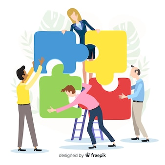 Mensen verbinden puzzel stukjes illustratie