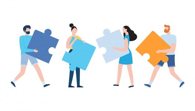 Mensen verbinden puzzelelementen, bedrijfsconcept. team metafoor. symbool van teamwerk, samenwerking, partnerschap