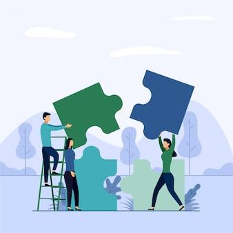 Mensen verbinden puzzelelementen
