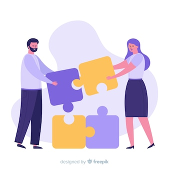 Mensen verbinden puzzelstukjes
