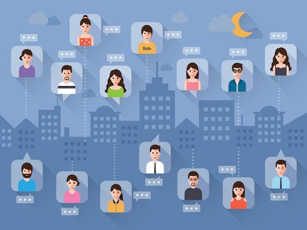 Mensen verbinden via sociaal netwerk op nachtscène