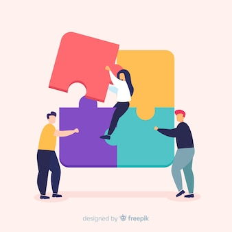 Mensen verbindende puzzel stukjes kleurrijke achtergrond