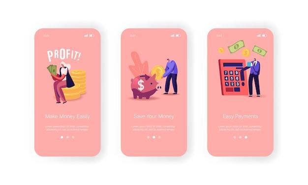 Mensen verdienen geld mobiele app-pagina onboard-schermsjabloon