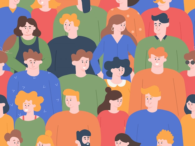 Mensen verdringen patroon. groepsportretten, jonge mannen en vrouwen op openbare bijeenkomsten of sociale demonstraties. schattige lachende vrienden tekens naadloze afbeelding