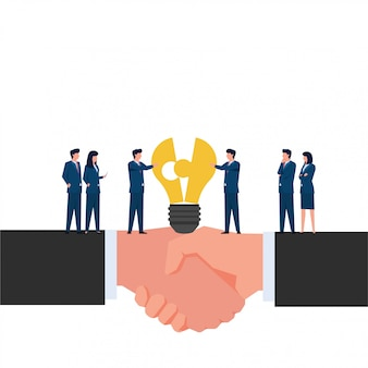 Mensen verenigen stukjes lamp op handdruk handmetafoor van acquisitie. zakelijke platte concept illustratie.