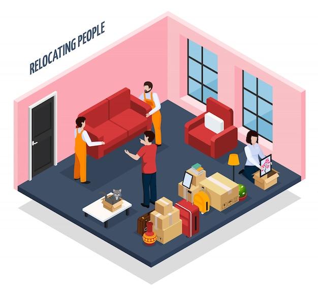 Mensen verhuizen isometrisch
