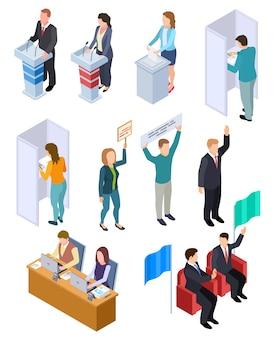 Mensen verkiezing isometrisch. politieke stemming, stemmen mensen democratie illustratie set