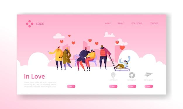 Mensen verliefd op de bestemmingspagina van het winterseizoen. valentijnsdag banner met platte karakters en harten. website sjabloon