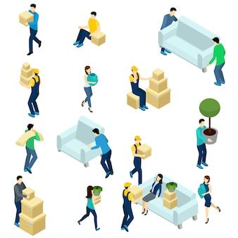 Mensen verplaatsen isometrisch