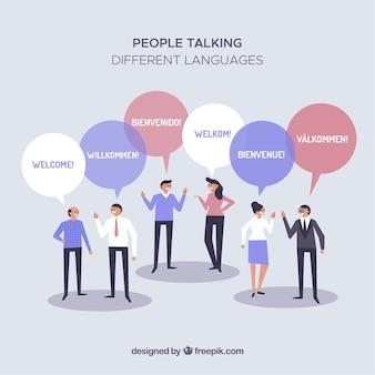 Mensen verschillende talen met een plat ontwerp