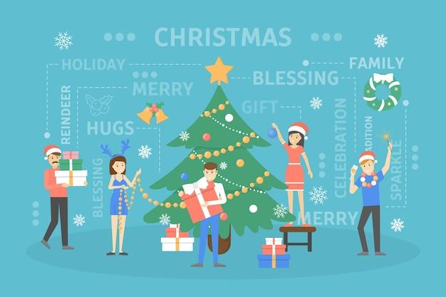 Mensen versieren grote kerstboom. gelukkige karakters die zich voorbereiden op nieuwe jaarviering. jongens die een geschenk vasthouden en champagne drinken. illustratie