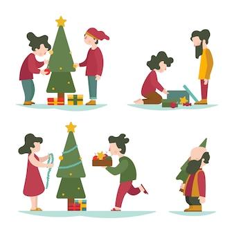 Mensen versieren kerstboom collectie