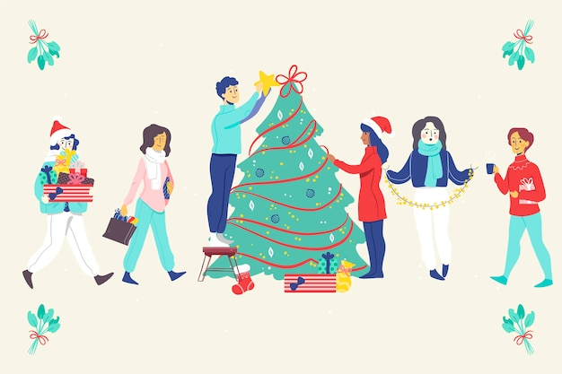 Mensen versieren kerstboom groep