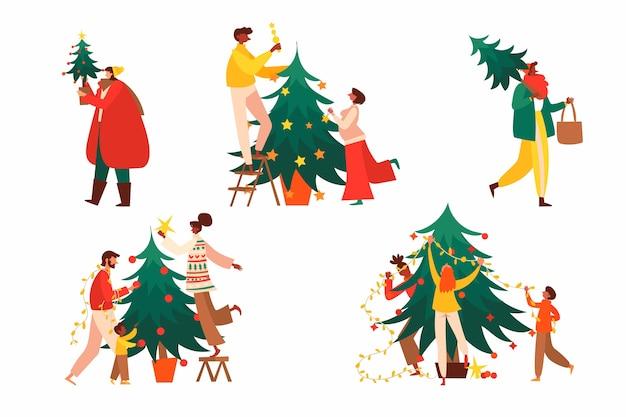 Mensen versieren kerstboom met geplaatste ornamenten