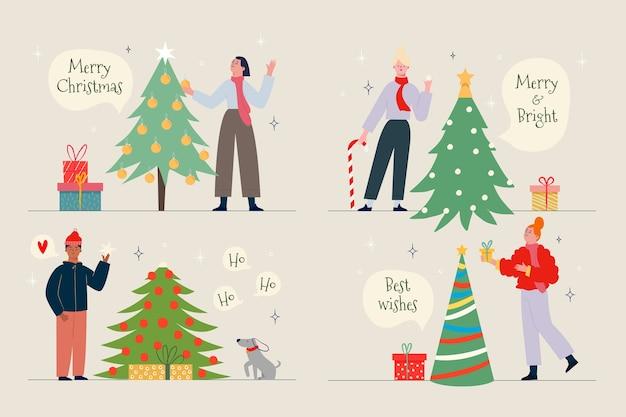 Mensen versieren kerstboom set