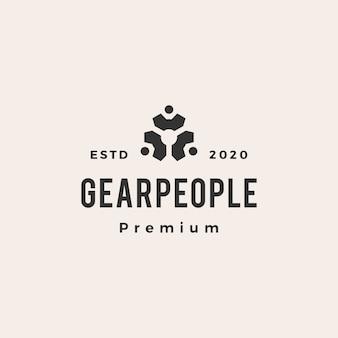 Mensen versnellen hipster vintage logo pictogram illustratie