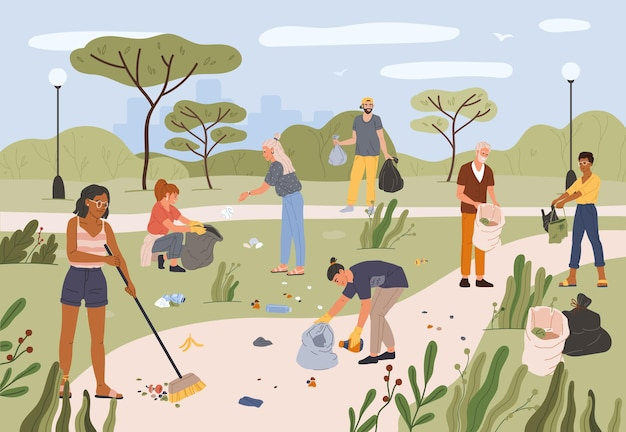 Mensen verzamelen afval in stadspark. mannen en vrouwen vrijwilligers maken samen park schoon van afval