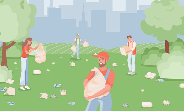 Mensen verzamelen en sorteren afval in stadspark
