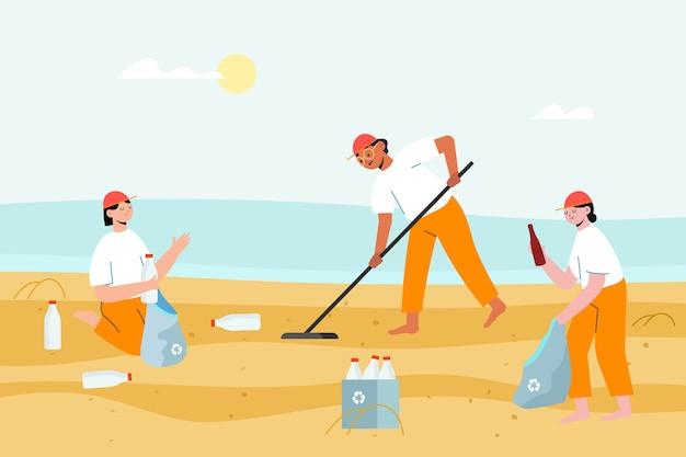 Mensen verzamelen het afval uit het zand