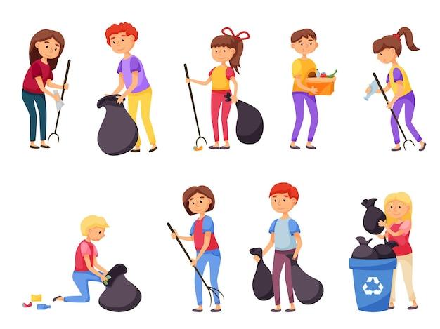 Mensen verzamelen vrijwillig afval en afval voor recycling. leerling student die zich bezighoudt met vrijwilligerswerk, sociale liefdadigheidsbeweging voor milieubescherming