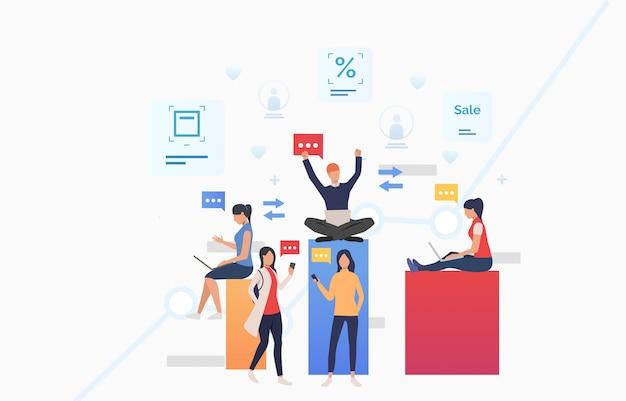 Mensen verzenden berichten met behulp van gadgets en vieren succes