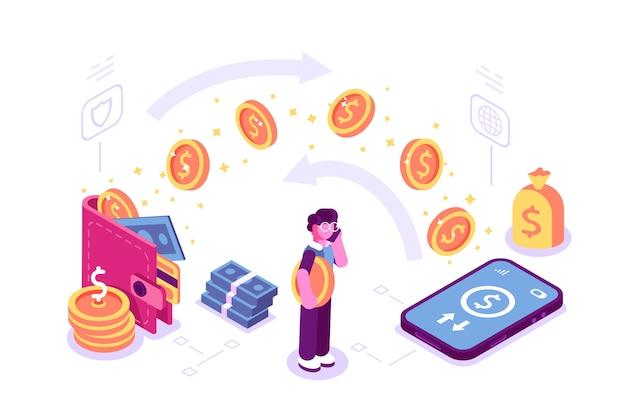 Mensen verzenden en ontvangen draadloos geld met hun mobiel voor webpagina, landing.