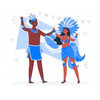 Mensen vieren braziliaanse carnaval concept illustratie