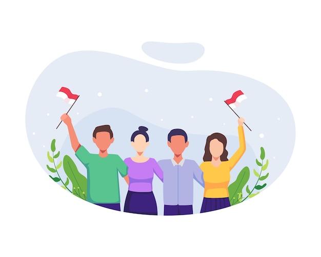 Mensen vieren de dag van de onafhankelijkheid. onafhankelijkheidsdag indonesië op 17 augustus. mensen vieren de nationale dag van onafhankelijkheid met het vasthouden van de vlag van indonesië. vectorillustratie in een vlakke stijl