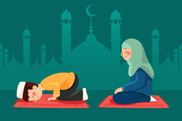Mensen vieren eid al-adha illustratie