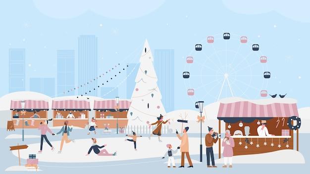 Mensen vieren het feestelijke seizoen van de kerstmiswinter in de eerlijke illustratie van de kerstmismarkt.
