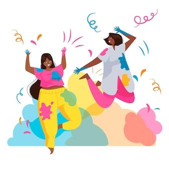 Mensen vieren holi festival en dansen