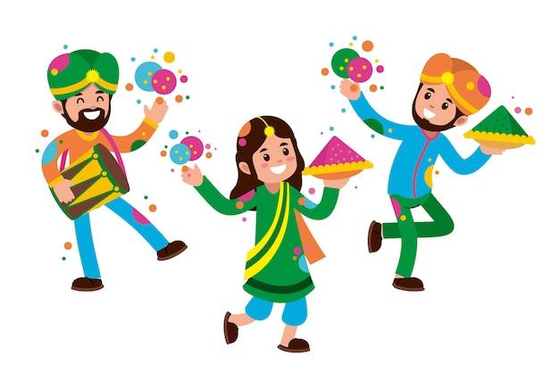 Mensen vieren holi festival illustratie