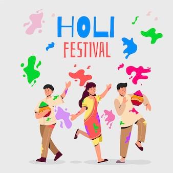 Mensen vieren holi festival