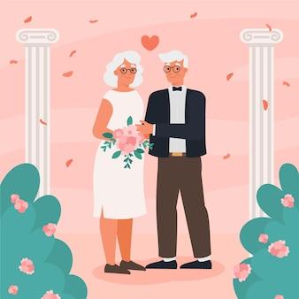 Mensen vieren hun gouden huwelijksverjaardag