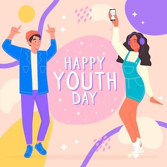 Mensen vieren jeugddag illustratie