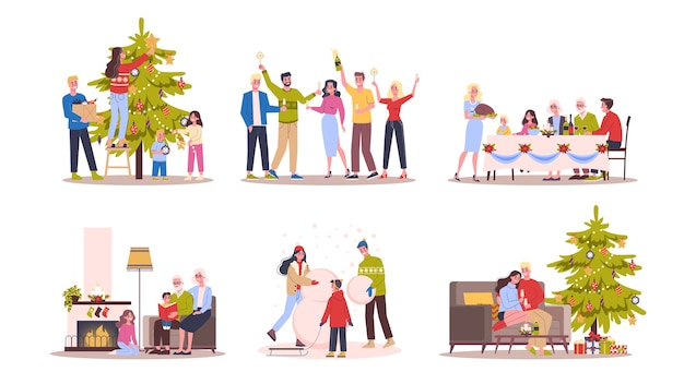 Mensen vieren kerst en nieuwjaar. familie op wintervakantie en kerstboom. illustratie in stijl